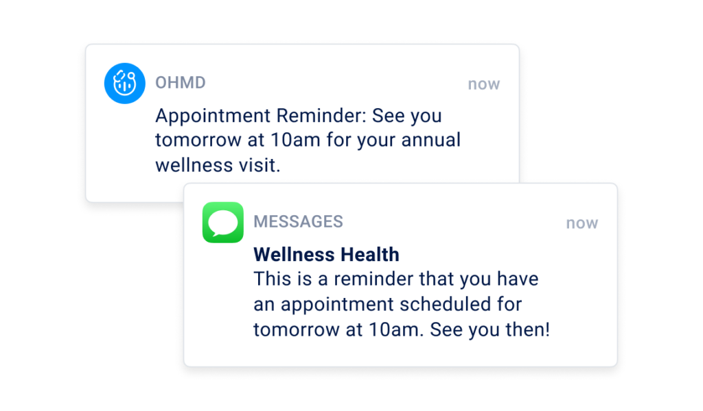 Text message appointment reminder to a patient